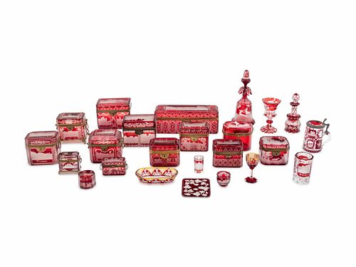 A Collection of Continental Cut-to-Clear Ruby Glass Table Articles