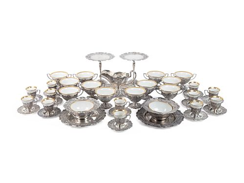 An American Silver and Porcelain-Lined Dessert Service