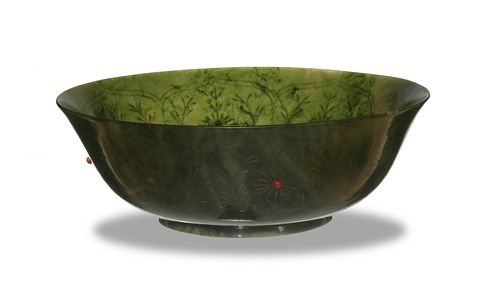 Chinese Green Jade Inlaid Bowl, 18-19th Century