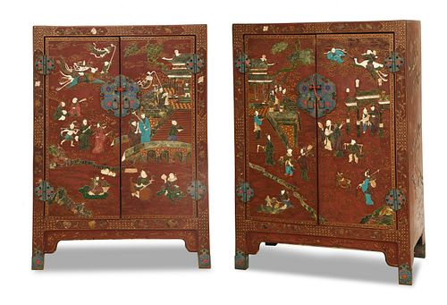 Pair Chinese Lacquer Cabinets with Stones, 16-17th Century