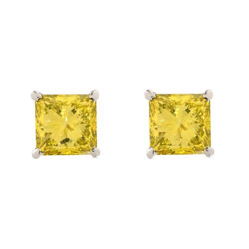 GIA Fancy Vivid Yellow Diamond Ear Studs