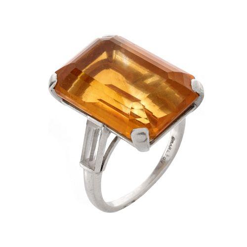 Citrine and Platinum Ring