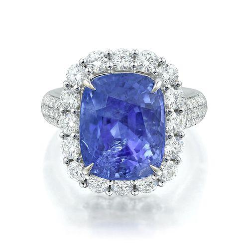 11.21-Carat Burmese Unheated Sapphire and Diamond Ring