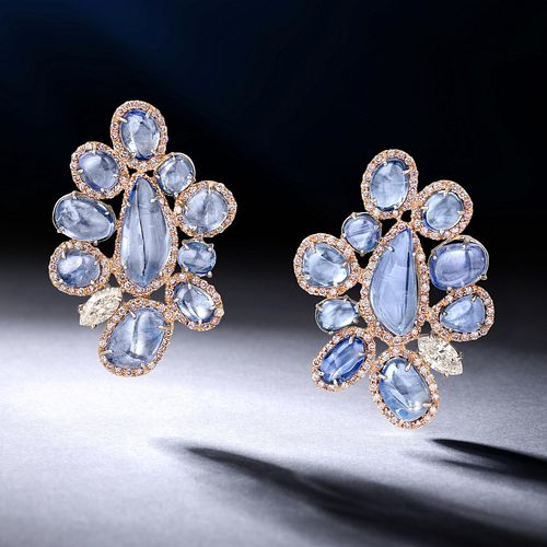 Kashmir Unheated Sapphire and Diamond Earrings
