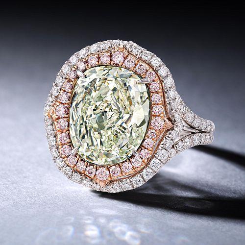 4.51-Carat Fancy Yellowish Green Diamond Ring