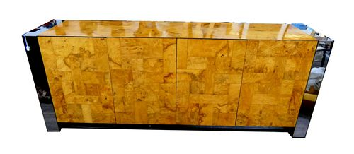 PAUL EVANS CITYSCAPE METAL AND BURL SIDEBOARD