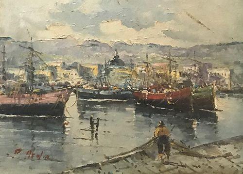 S. Lattner  20th C.Oil Painting of Fishing Harbor