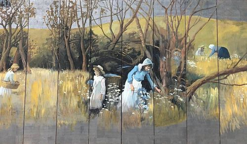 8 Panel Painted Wood Screen