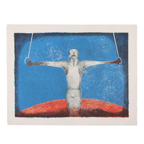 """Rufino Tamayo.""""Cruz de Hierro, El Gimnasta"""". Firmada, 1988. Litografía 289/300. Con sello de agua de DSW. 58 x 78.5 cm"""