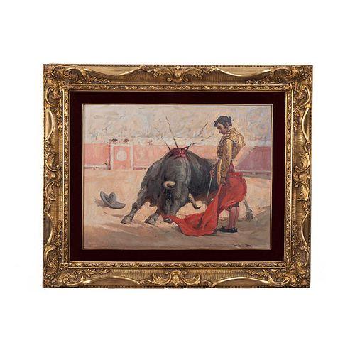 """Antonio Navarrete.""""El desdén"""" de Manolo Martínez. Óleo sobre tela. Firmado. Enmarcado en madera dorada. 50 x 65 cm."""