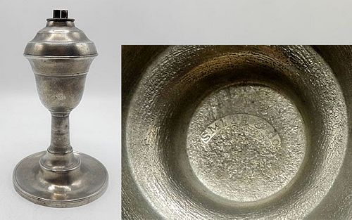 Marked American Pewter Whale Oil Lamp