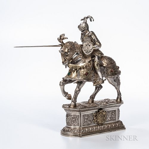 German Sterling Silver Figure of a Knight on Horseback