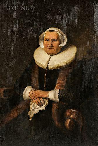 Hendrik Albertus Kleijn (Dutch, 1860-1929)      Elizabeth Jacobs Bas  /A Copy After Rembrandt or Bol
