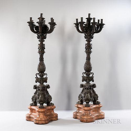Pair of Cast Bronze Seven-light Street Candlelights