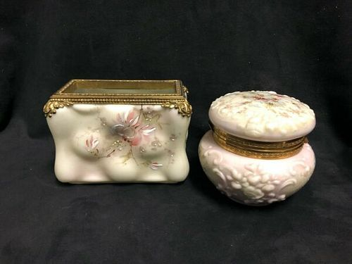 2 Pieces of Victorian Wavecest hand painted Glass Trinket/jewelery box