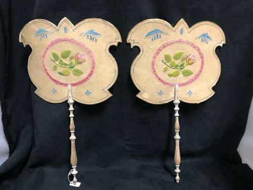 PAIR OF VICTORIAN ENGLISH FIRESIDE LADIES FANS PAINTED WITH EMBROIDERED FLOWERS