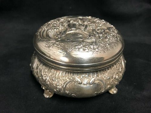 German Dresden 800 Round Silver Repoussé Trinket Box with figures and foliage