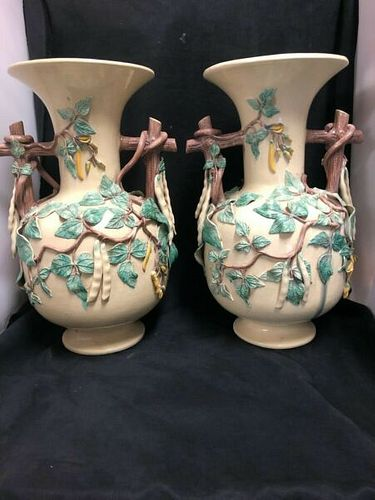 "FABULOUS LARGE PAIR OF ST.HONORÌä FRENCH POTTERY BEAN VASES 16.5"" INCHES H"