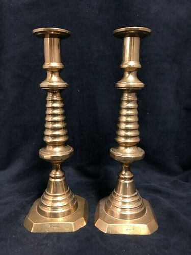 PAIR OF MID - 19TH CENTURY BRASS CANDLE STICKS BEEHIVE DESIGN