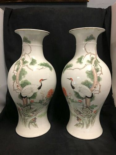 Pair of Antique Large T'ung Chih Matching Chinese Porcelain Vases With Storks
