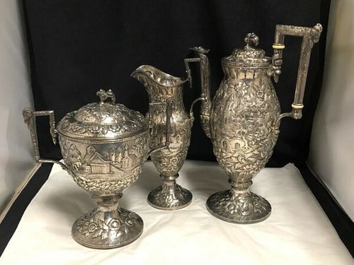 AMERICAN SAMUEL KIRK AND SON STERLING SILVER 925 -3 PIECE COFFEE SET