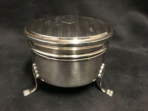 Birks Small Round footed Sterling silver Jewelery Box C.1930's