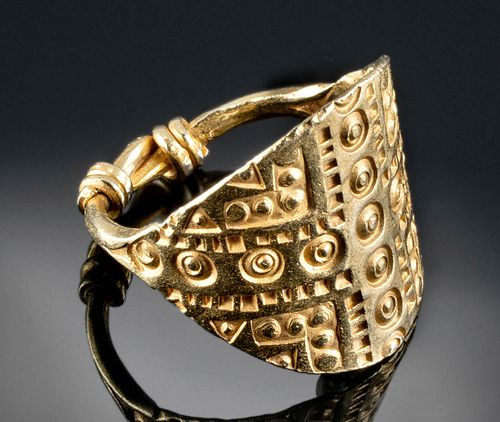 Viking 23K+ Gold Ring Extensive Decoration
