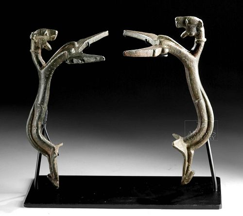 Lot of 2 Near East Bronze Handles -  Leaping Leopards