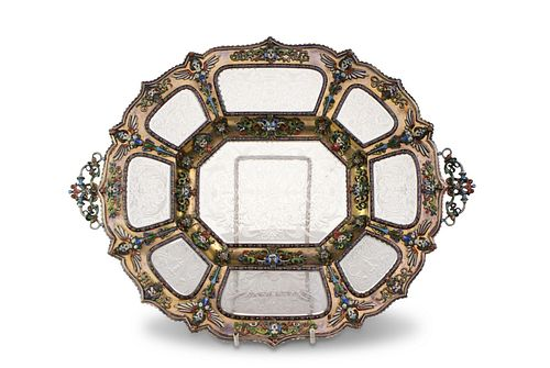 Viennese Silver Gilt Rock Crystal Tray