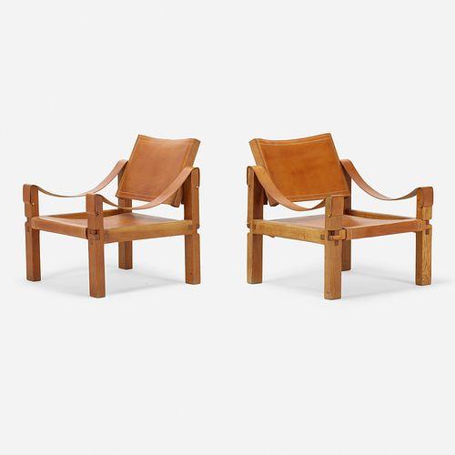 Pierre Chapo, Sahara lounge chairs, pair