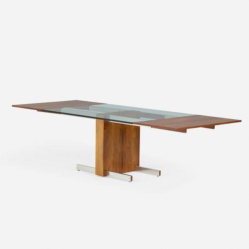 Vladimir Kagan, Glass Top Extension dining table, model 6705