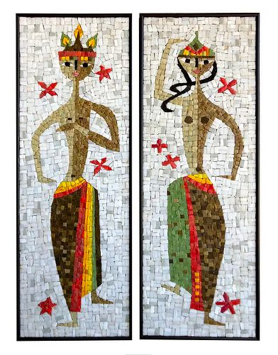 Jerome and Evelyn Ackerman Pair of Balinese Dancer Glass Tile Mosaic Wall Panels
