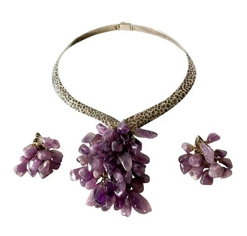Los Castillo Sterling Silver Amethyst Mexican Modernist Necklace Earrings Set
