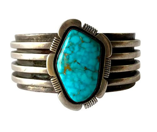 1970s Sterling Silver and Turquoise Navajo Cuff Bracelet