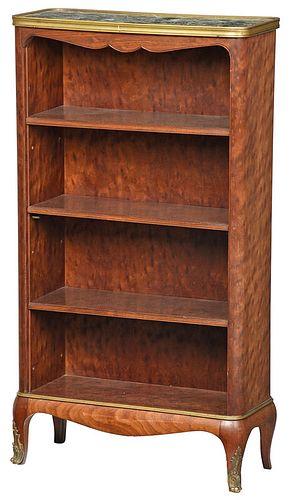 Louis XV Style Mahogany Marble Top Bookcase