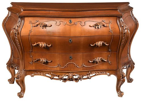 Rococo Style Carved Fruitwood Bombe Commode