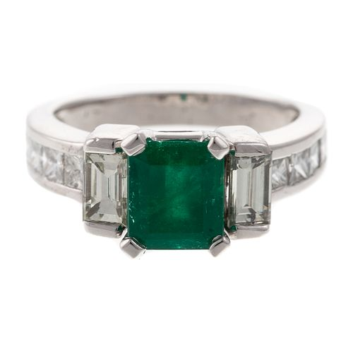 A 1.16 ct Colombian Emerald & Diamond Ring in Plat