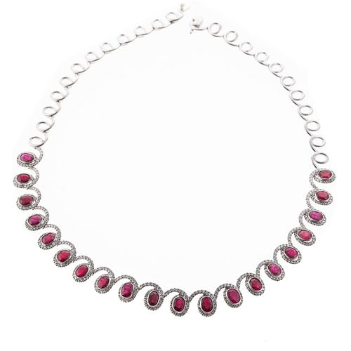 A 21.5 ctw Ruby & Diamond Necklace in 18K