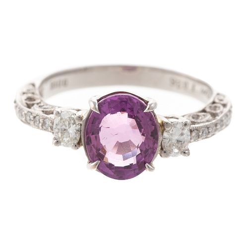 A 2.00 ct Pink Sapphire & Diamond Ring in Platinum