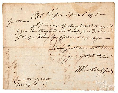 Brigadier General William Heath signed letter