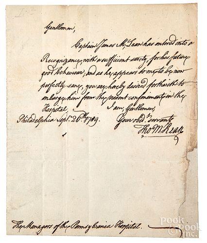 Thomas McKean signed handwritten letter