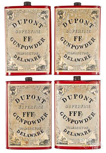Four Dupont Superfine powder tins