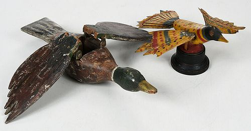 Two Folk Art Carved and Painted Birds
