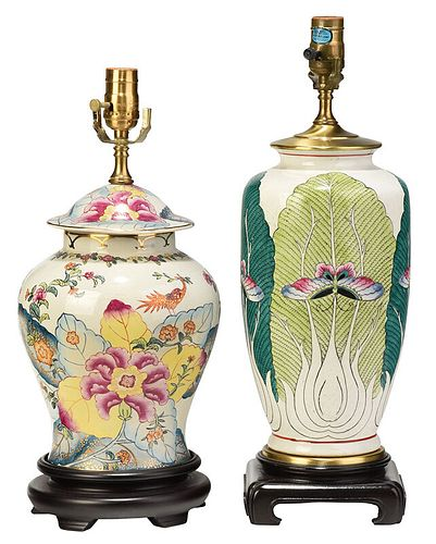 Two Chinese Famille Rose Vases Converted to Lamps