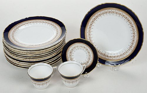 36 Pieces of Cobalt and Gilt Royal Worcester