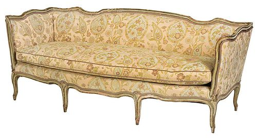 Louis XV Style Painted and Parcel Gilt Sofa