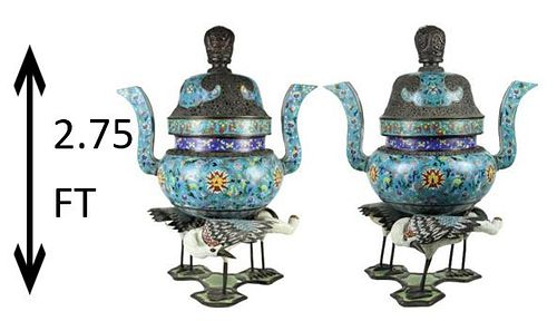 Pair of Antique Chinese Cloisonne Censors