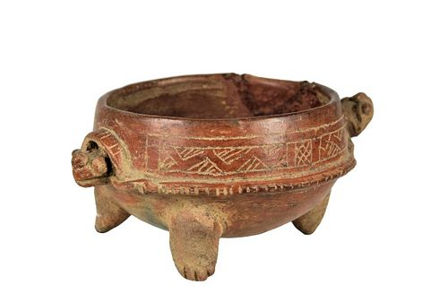 Pre-Colombian Mayan Style Turtle Bowl