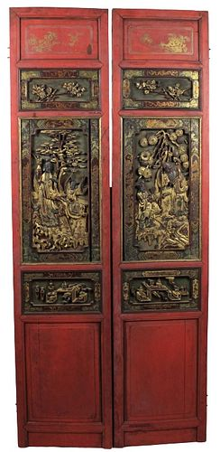 Pair of Chinese Red & Gilt Carved Wooden Panels