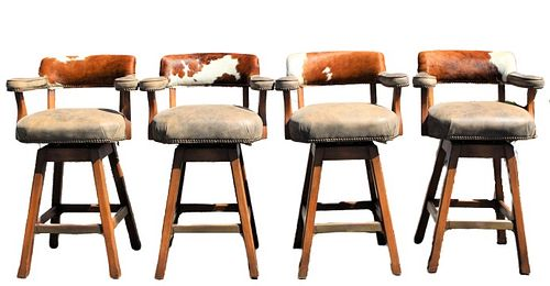 Set of (4) King Ranch Cowhide & Leather Barstools
